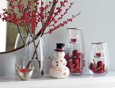 #PartyLite Mr. Snow Tealight Holder, Christmas Dove Tealight Holder, and Clearly Creative Votive Holder Trio