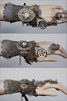 Spiked gears cuff by pinkabsinthe on Etsy