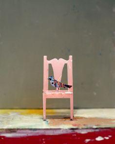 tiny chair with tiny bird