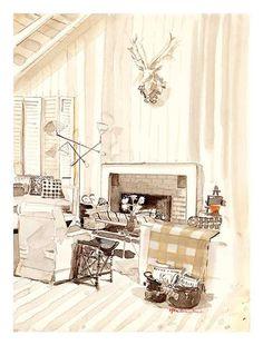 Albert Hadley // Mita Corsini Bland Interior Design Renderings, Interior Rendering, Interior Sketch, Interior Architecture, Interior And Exterior, Interior Doors, Classical Architecture, Albert Hadley, Flower Studio