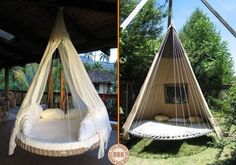 Trampolines are fun, but what do you do when it's wrecked beyond repair? Why not turn your broken trampoline into a circular swing bed? on The Owner-Builder Network  http://theownerbuildernetwork.co/wp-content/uploads/2012/08/1375725_556092887779043_1352264292_n.jpg