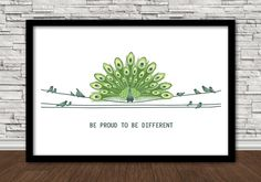 """Poster 5""""x7"""": Be Proud To Be Different, Peacock on wire with birds, white background."""
