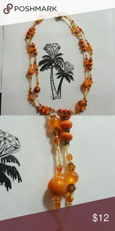 "Orange Bead Necklace, J505 Multi size, Orange beaded necklace. New hand crafted. 38"" long Hand Crafted Artisan Jewelry Necklaces"