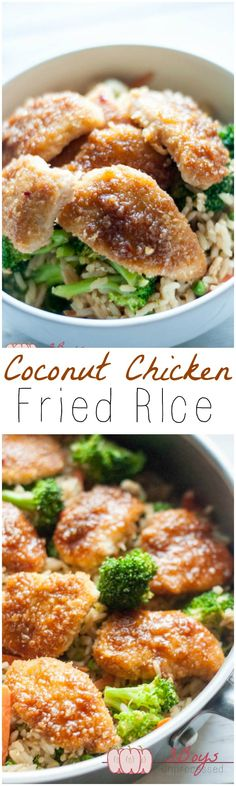 Coconut Chicken Fried Rice - Pretty Little Apron - Coconut Chicken Fried Rice. Takeout style without the unhealthy oils and mystery ingredients! Turkey Recipes, Chicken Recipes, Dinner Recipes, I Love Food, Good Food, Asian Recipes, Healthy Recipes, Table D Hote, Clean Eating