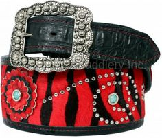 Red Zebra Hair Print and Black Gator Ends Belt by Double J Saddlery.