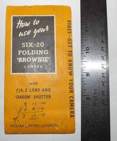 Instruction Book for Kodak SIX-20 Folding Brownie Good Condition  Intact   eBay