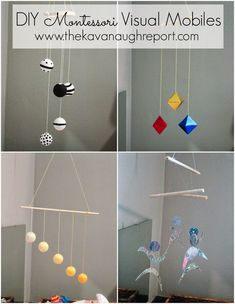 Montessori Infant Mobiles -- Visual Series. DIY Munari, Octahedron, Gobbi and Dancers mobiles. Perfect for an infant environment from birth to 5 months.