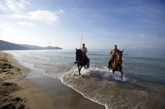Maremma's Butteri cowboys on the beach