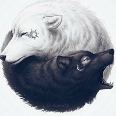 This is the best Yin-Yang! on We Heart It Wolf Tattoos, Yin Yang Tattoos, Wolf Tattoo Tribal, White Wolf Tattoo, Wolf Tattoo Design, Jing Y Jang, Bruder Tattoo, Yin Yang Wolf, Yin And Yang
