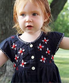 Another great find on #zulily! Navy Embroidered July Dress - Infant, Toddler & Girls #zulilyfinds