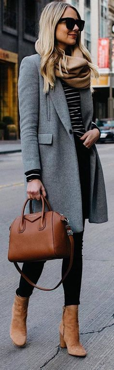 #Winter #Outfits black top, black jeans, brown boots, bag, grey long coat,beige scarf