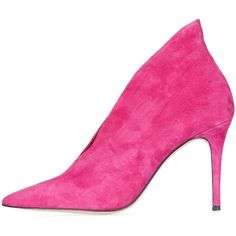 Pointed Suede Heels by Unique (12,455 INR) ❤ liked on Polyvore featuring shoes, pumps, pointed shoes, mid heel pumps, pink pumps, leather pumps and cut out pumps