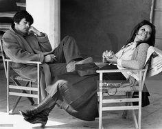 The Italian actress Lea Massari and the French actor Alain Delon during a shooting break of the film La prima notte di quiete, directed by Valerio Zurlini; Delon is Dominici, a teacher of a high school, while Massari is Monica, Dominici's partner. Roma (Italia), 1972..