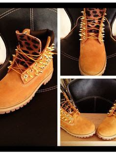 e67969692724 Custom Spiked Timberland Boots I guess these are pretty cool with the  leopard and spikes