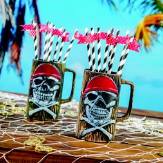 This Pirate Skeleton Mug is a skull and crossbones on a background that gives the appearance of wood. Our plastic mug is 8 inches high and holds a whopping 24 ounces of your favorite drink!  You can also create a DIY project with the straws and tape (flags) on this Pinterest Board for your #PirateParty