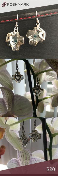 🌟Brighton Earrings🌟 ✨ Beautiful Brighton Cross and Heart ❤️ Earrings. Maltese Swarovski Cross and a silver heart. They are a fish hook closure and the cross is a Smokey in color.✨ Brighton Jewelry Earrings