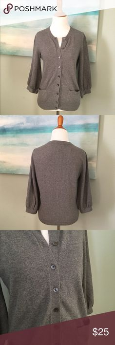 Banana Republic Cozy Cardigan with 3/4 sleeves Perfect for the office or a Fall Day. Luxuriously soft. 3/4 bracelet sleeves. Pretty buttons and cute little pockets! Gently loved. Bundle for best savings! BR Factory Banana Republic Sweaters Cardigans