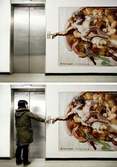 "Plastic Surgeon's Dr. Kim's Elevator Ad  ""Be born again"""