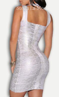 Bandage Fashion Silver Foil Print Bandage Dress Celebrity Style