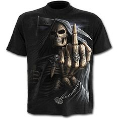 Spiral - Mens - BONE FINGER - T-Shirt Black - Awesome Skulls