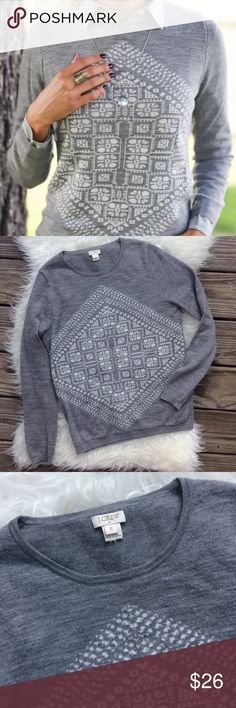 """J. Crew Geometric Merino Wool Sweater Good condition J. Crew Geometric Merino Wool Sweater. Size Small. 100% merino wool. Grey and white. Stretchy. Small faint stain seen in last picture. Bust 36"""", length 24.5"""". No trades, offers welcome. J. Crew Sweaters Crew & Scoop Necks"""