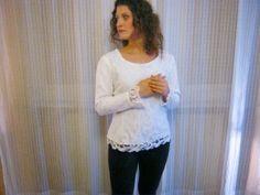 diy white lace blouse