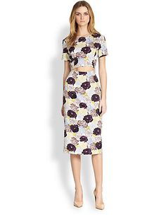 Suno - Stretch Silk Cutout-Waist Floral-Print Dress - Saks.com