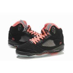 2013 Girls Nike Air Jordan 5 V Retro GS Black Alarming Red Pink Women - Nike