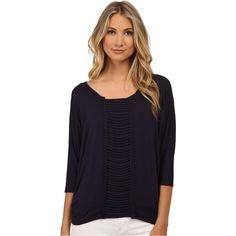 Miraclebody Jeans Linda Ladder Top w/ Body-Shaping Inner Shell (Navy... ($40) ❤ liked on Polyvore featuring tops, navy, layering tanks, blue tank top, layered tops, navy blue tank top and slimming tank top