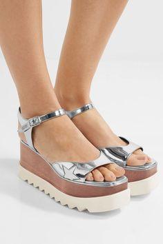 a85f8edfabf49 Stella McCartney - Metallic Faux Leather Platform Sandals - Silver