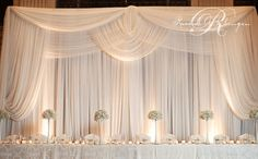 Photo Gallery backdrop Wedding Backdrops, Drapery Wedding, Wedding Reception Backdrop, Wedding Decorations, White Backdrop, Backdrop Lights, Backdrop Ideas, Backdrop Decor, Wedding Head Tables