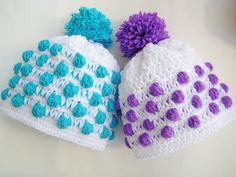 Crochet Pattern Baby Beanie Hat, Newborn to Adult, Polka Dot Beanie