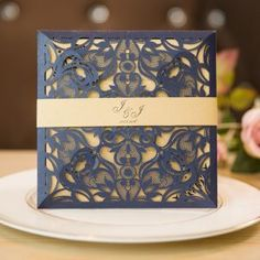 classic navy blue laser cut wedding invitations with belly band