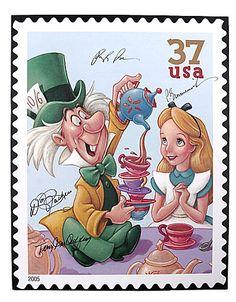 disney postal stamps | DISNEY USPS Stamp Art ALICE & MAD HATTER Signed Canvas