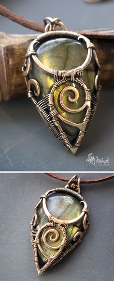 Wire wrapped bronze pendant with green labradorite