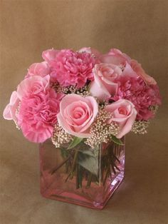 Babies' breath and pink roses