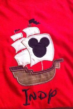 Custom Handmade Disney Mickey Pirate Ship Applique TShirt 2t-10