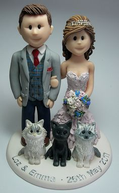 Polymer clay hand made wedding cake topper personalised with pets  Feats Of Clay