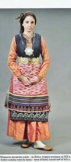 Festive costume from Kotel (Sliven province, central Bulgaria).  Urban style, second half of 19th century.