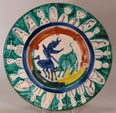 Pablo Picasso, Corrida with Figures, 1950, Madoura, white earthenware charger