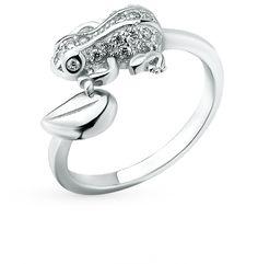 Серебряное кольцо с фианитами SUNLIGHT: белое серебро 925 пробы, фианит — купить в интернет-магазине Санлайт, фото, артикул 38297