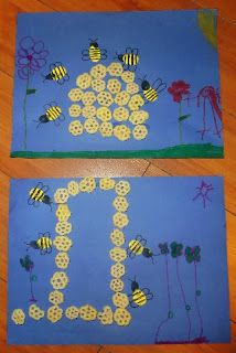 honeycomb art & fingerprint bees - let kids get as creative as they like building their own beehives