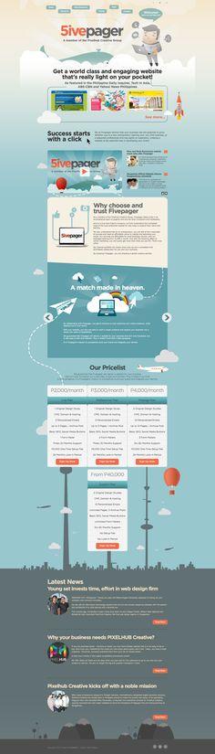 Unique Web Design, 5ive Pager #WebDesign #Design (http://www.pinterest.com/aldenchong/)