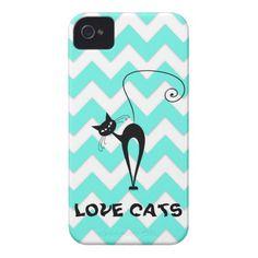 Funny trendy chevron love cats