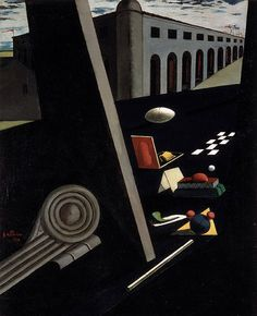 Giorgio de Chirico - The Sailor's Barracks, 1914 - Norton Museum of Art, West Palm Beach, Florida Italian Painters, Italian Artist, Magritte, Dali, Moonlight Painting, Miro, Different Kinds Of Art, Traditional Paintings, Surreal Art