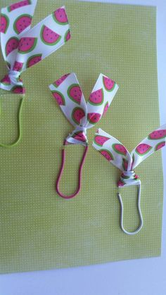 Set of 3 Paper Clips - Pink Paper clip with Watermelon ribbon (white, pink and green ribbon)