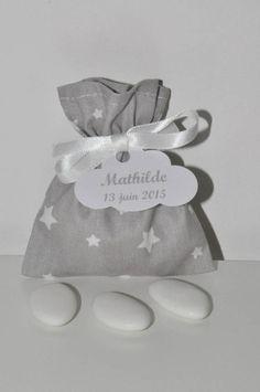 10 pochons ballotins de dragées étoile gris baptême personnalisé étiquette nuage pour baptême,mariage,communion