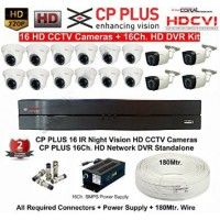 1 MP 16 HD CCTV Cameras (1MP) with 16Ch. HD DVR Kit with all Accessories-CPPLUS
