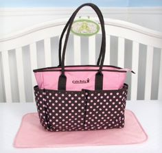 SOHO Pink and brown Dot diaper bag with changing pad
