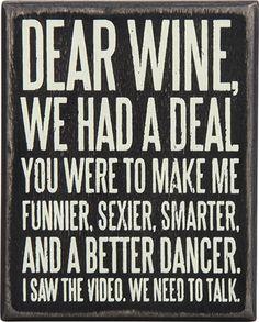 Item # 27179 | Box Sign - Dear Wine | Primitives by Kathy